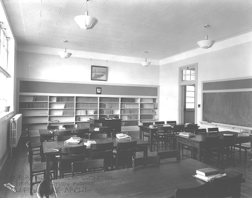 Bryker Woods Elementary Library circa early 1940s